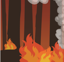 Graphic button representing wildfire. Clicking on this button will take the viewer to the Wildfire Hazard page