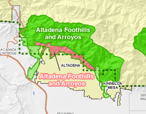 image showing the adopted SEAs in Altadena in green, the conceptual SEAs in red.
