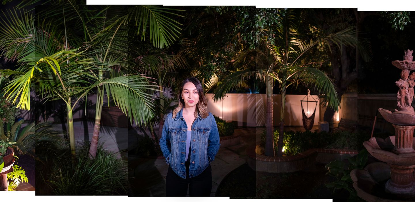 Alondra Corona, poses for an evening portrait in the backyard of the home where she grew up in Azusa, CA.