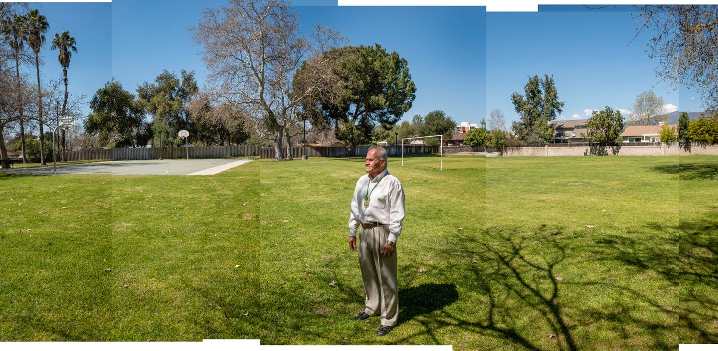 Community activist and life-long resident of Claremont, CA, Al Villanueva stands in the middle of El Barrio Park. Al played an integral role in the late 1960's and early 1970s in the construction of this park in Claremont's historic Arbol Verde neighborhood.