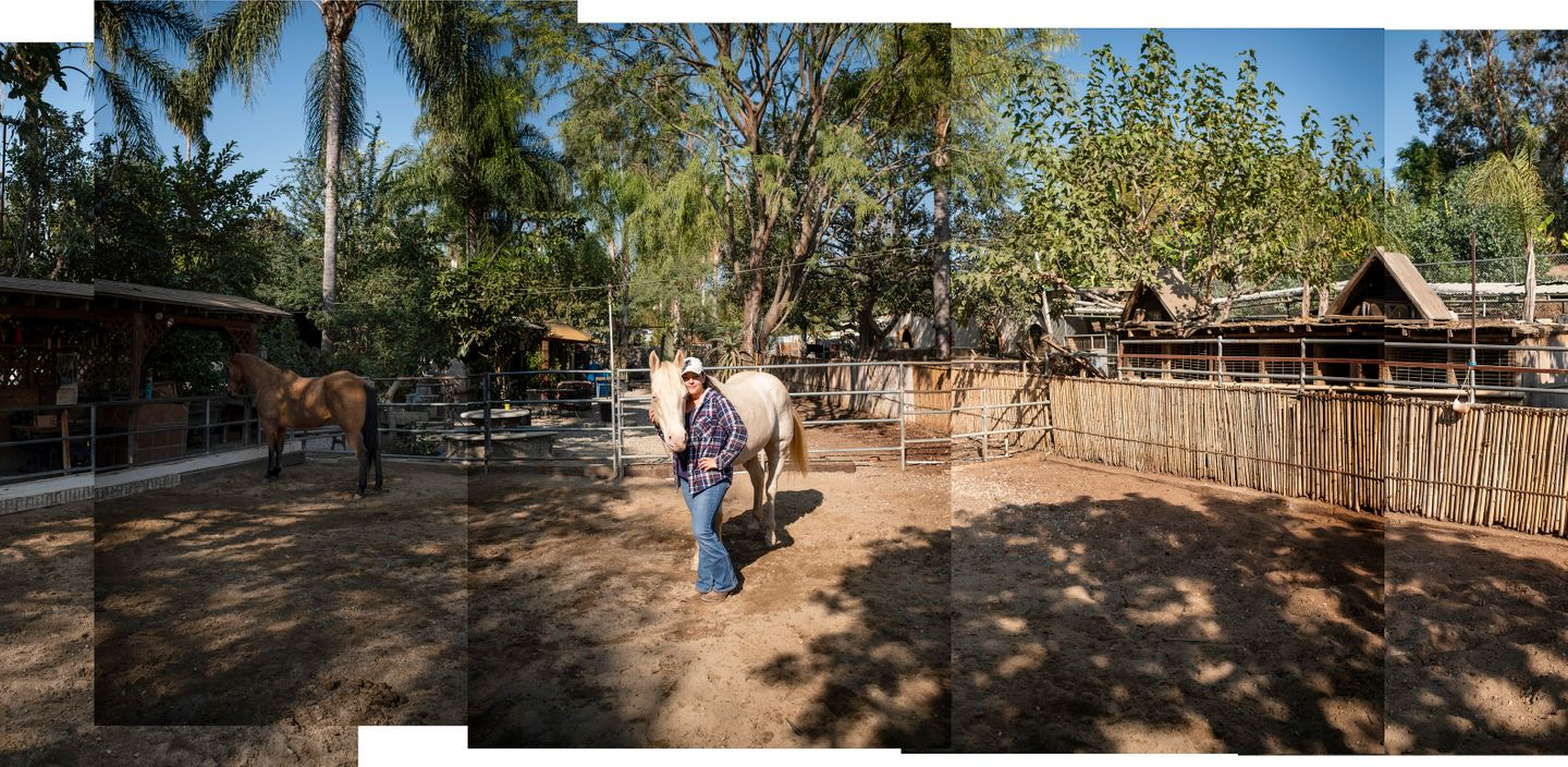 Health educator and horse enthusiast, Alejandra Aviña, stands in the middle of the corral at Hacienda Esperanza with her horse, Güero.