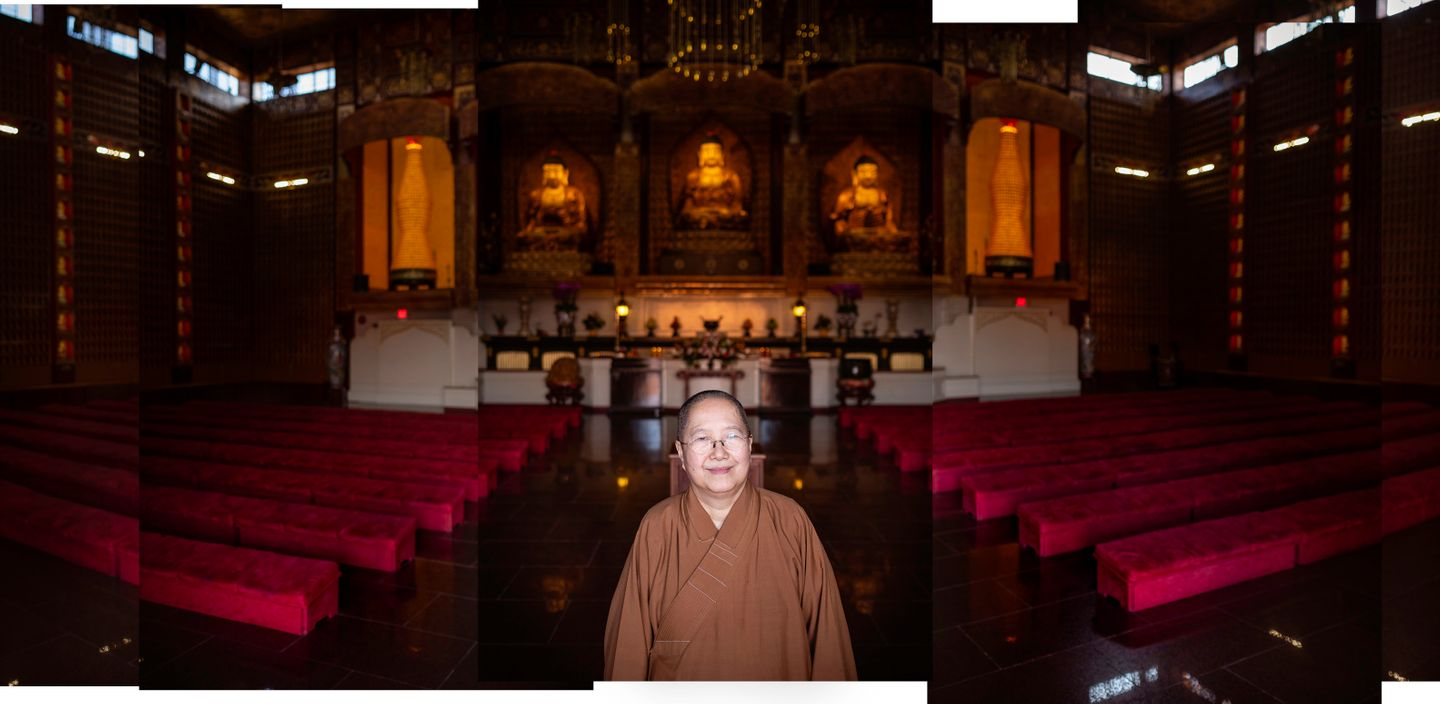 Venerable Miao Hsi poses for a portrait inside the main shrine at Hsi Lai Temple in Hacienda Heights, CA. Hsi Lai is one of the largest Buddhist temples in the western hemisphere.