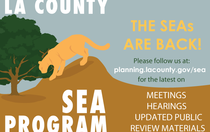 LA County SEA Program with planning.lacounty.gov/sea website and information about upcoming milestones