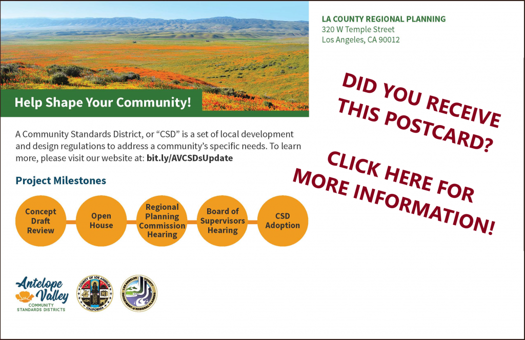 Image of a post card that was mailed to residents and property owners in communities with completed Concept Drafts. Please click on the image for more information.