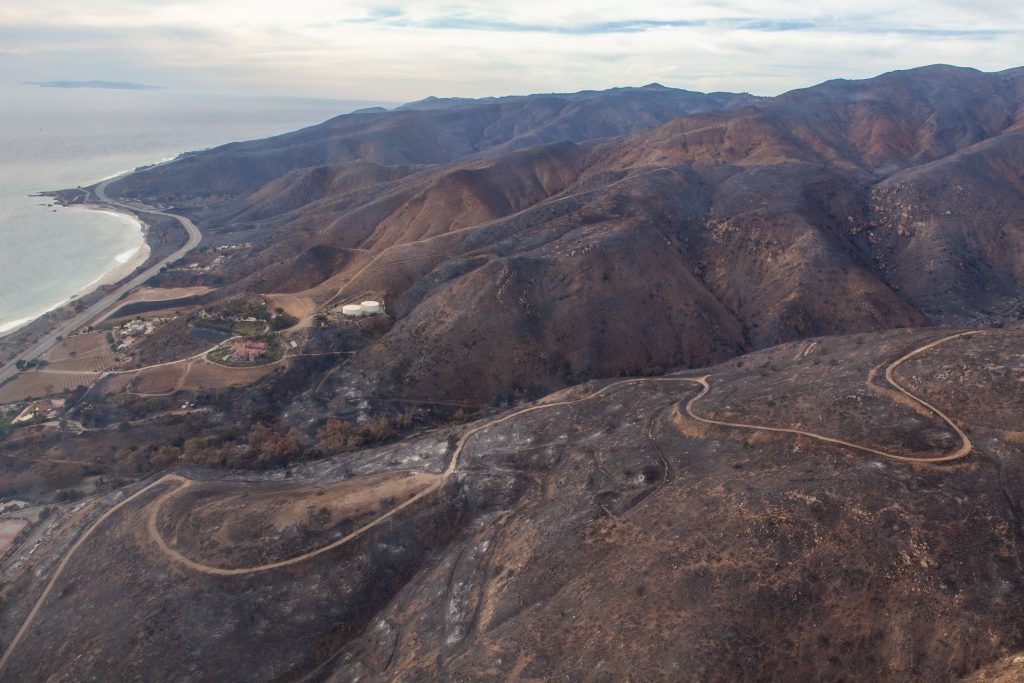 Aerial picture of the Woolsey Fire burn area